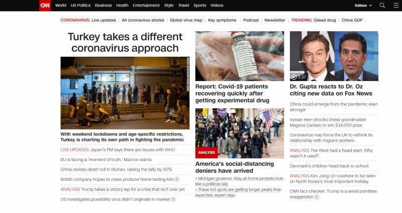 CNN, haberi internet sitesinde birinci manşetten verdi...