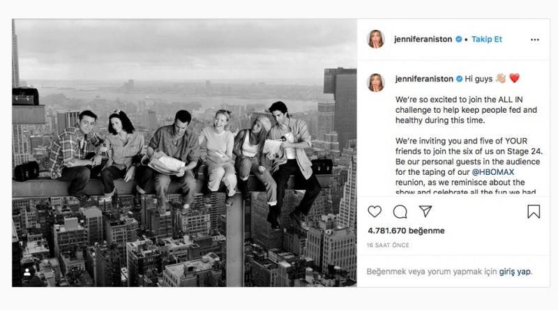 Jennifer Aniston koronavirüs bağışı çağrısı