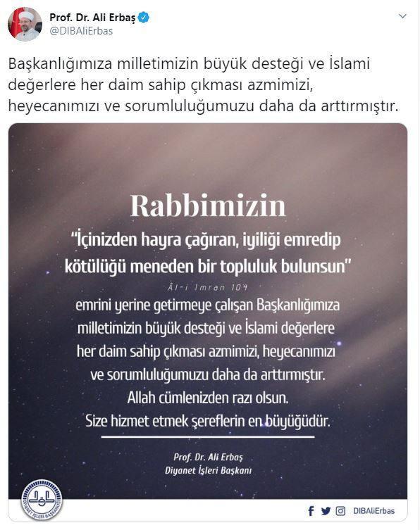 Diyanet İşleri Başkanı Erbaş, sosyal medya hesabından açıklama yaptı.