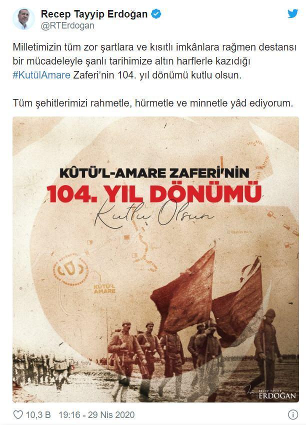 Erdoğan'dan Kut'ül Amare Zaferi mesajı - GÜNCEL Haberleri
