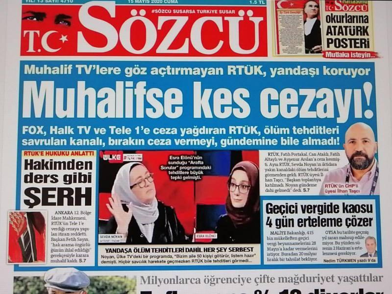 Sözcü attığı manşetle birlikte RTÜK'ü hedef alarak kanallara farklı muamele uygulanıyormuş algısı yaratmaya kalktı