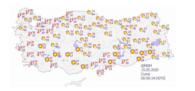 15 Mayıs beklenen hava sıcaklığı haritası
