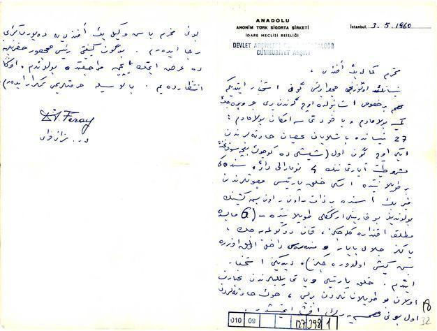 Dr. Sezai Feray'ın mektubu.