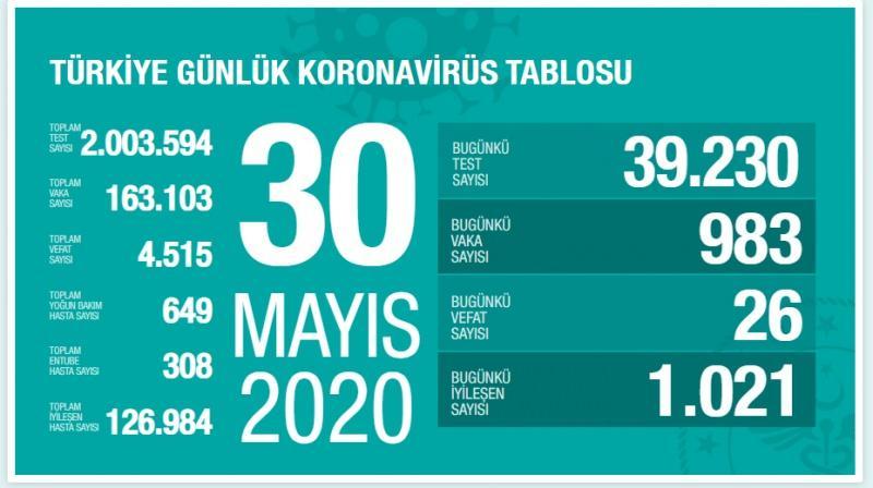 30 Mayıs koronavirüs tablosu, vaka sayısı, son durum