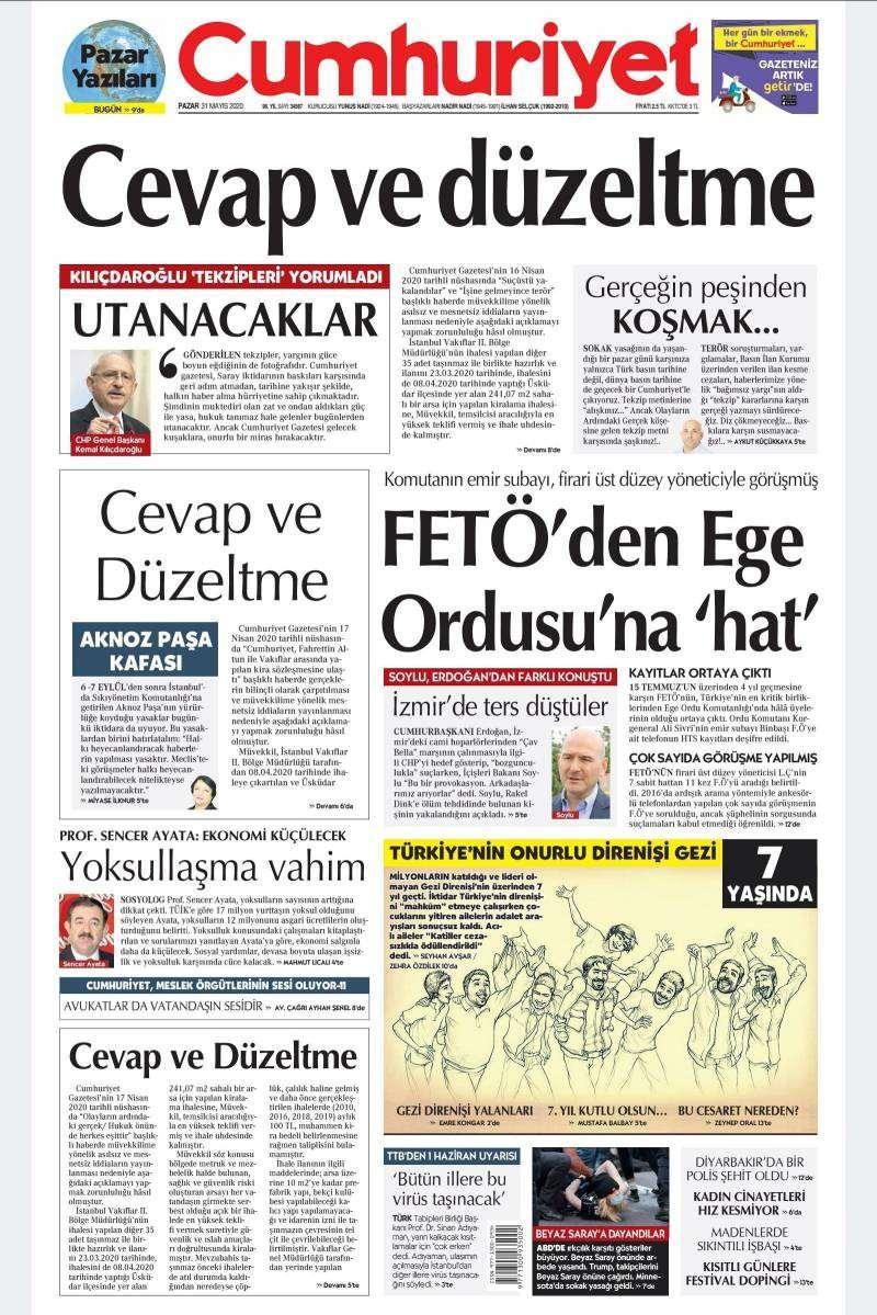 Cumhuriyet gazetesinin bugünkü birinci sayfası.