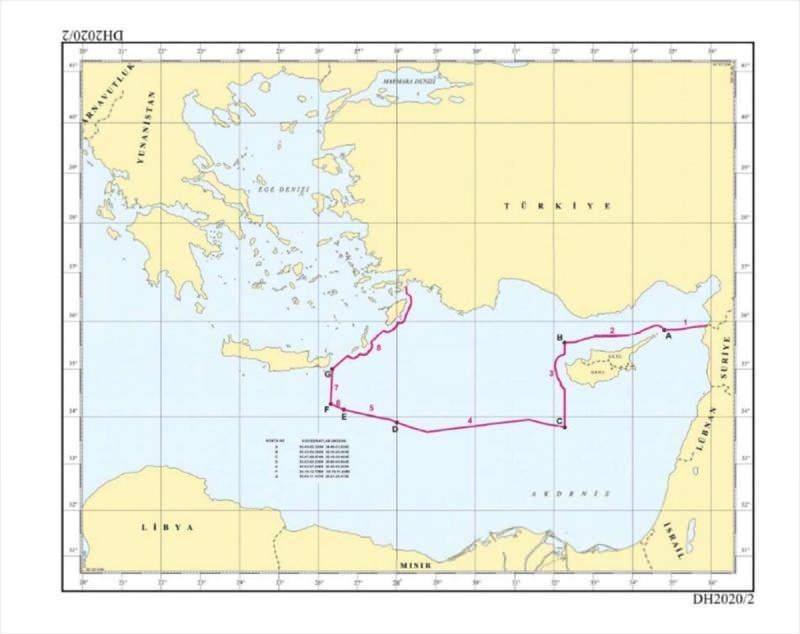 Dışişleri Bakanlığı, Türkiye'nin, Birleşmiş Milletler'e (BM) bildirdiği Doğu Akdeniz'deki deniz sınırları içinde, Türkiye Petrolleri Anonim Ortaklığının (TPAO) sismik araştırma ve sondaj ruhsat başvurusunda bulunduğu yeni ruhsat sahalarını gösteren haritayı paylaşmıştı