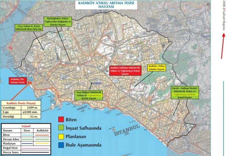 Görüntüler 2006 İSKİ Faaliyet Raporundan. Kadıköy Atıksu Arıtma Tesisi havzası çalışmaların