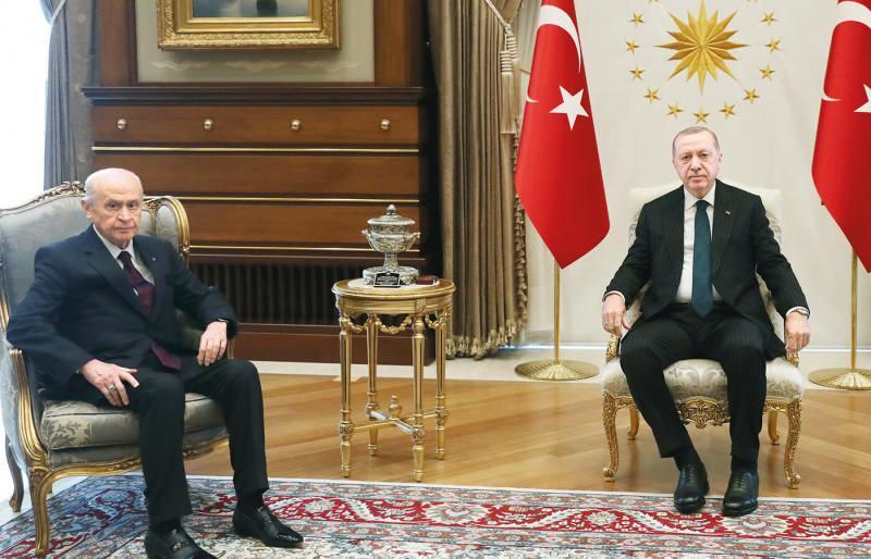 Cumhurbaşkanı Erdoğan, Devlet Bahçeli'yi Külliye'de ağırladı