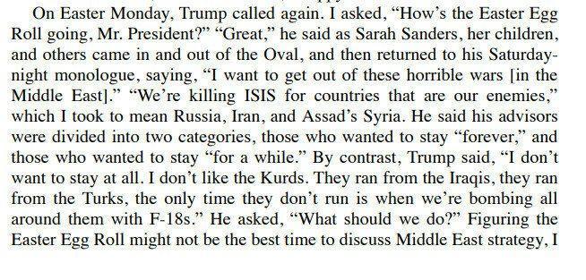 The Room Where It Happened adlı kitabın 40. sayfasında Trump'ın sözlerinin geçtiği bölüm.