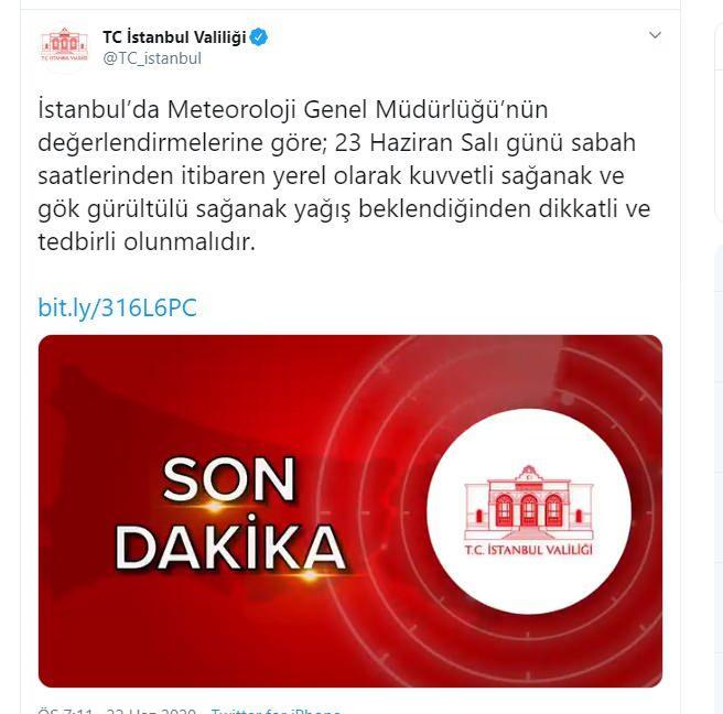 İstanbul Valiliğinden sağanak uyarısı