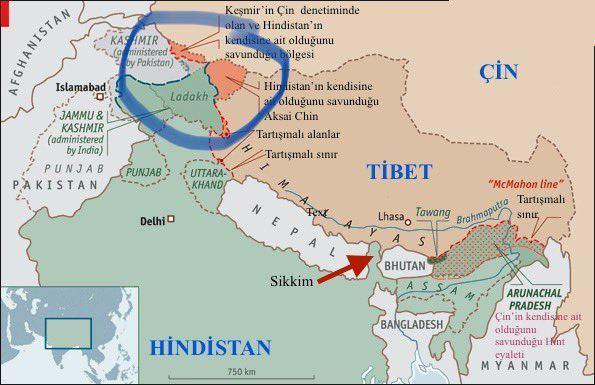 Çatışmanın yaşandığı bölgenin harita üzerindeki konumu