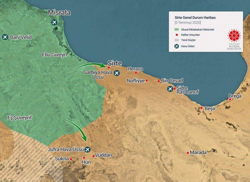 05 Temmuz 2020 tarihi itibarıyla Sirte genel durum haritası