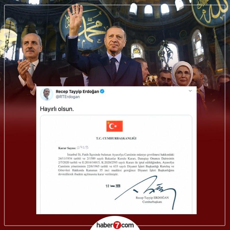 Danıştay, Ayasofya'nın müzeye çevrilmesine ilişkin Bakanlar Kurulu kararını iptal etti. Erdoğan, Danıştay kararı sonrası kararnameyi imzaladı.