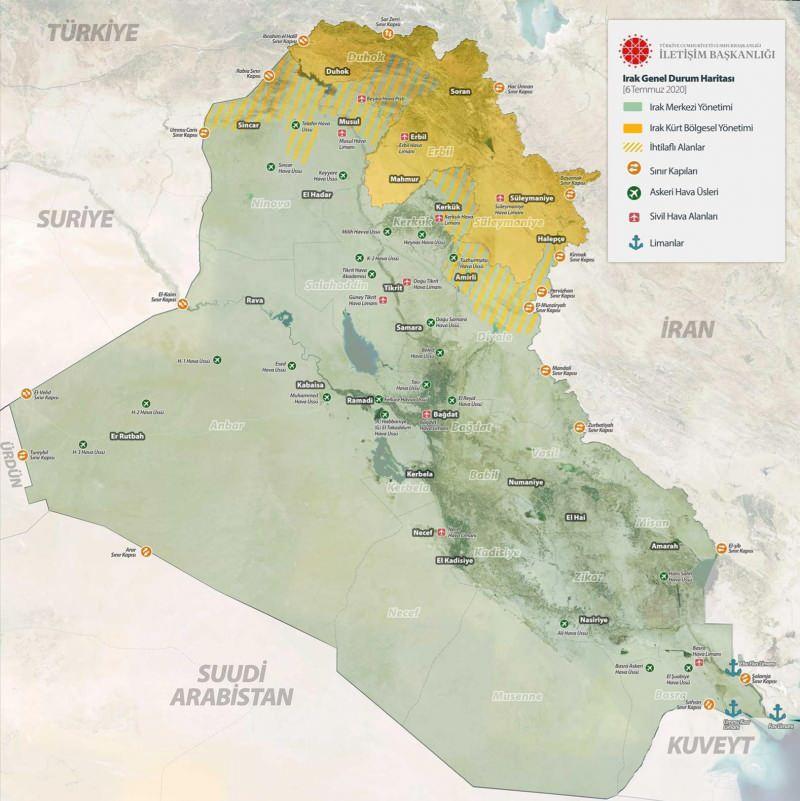 06 Temmuz 2020 tarihi itibarıyla Irak genel durum haritası
