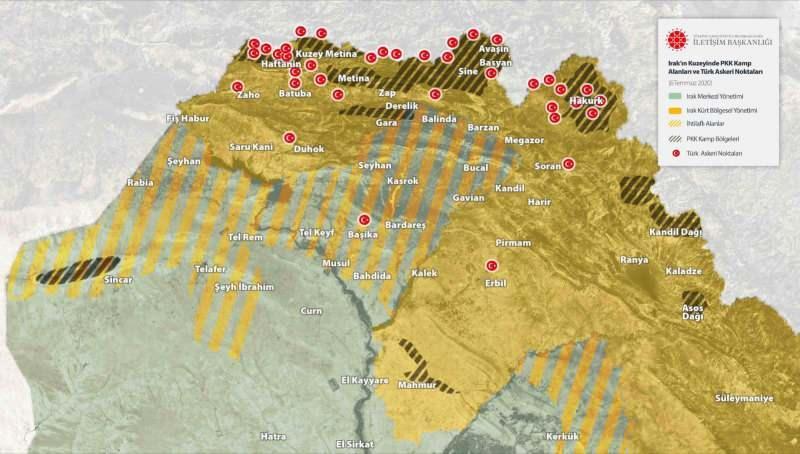 06 Temmuz 2020 tarihi itibarıyla Irak'ın kuzeyindeki terör örgütü PKK'nın kamp alanları ve Türk askeri noktaları