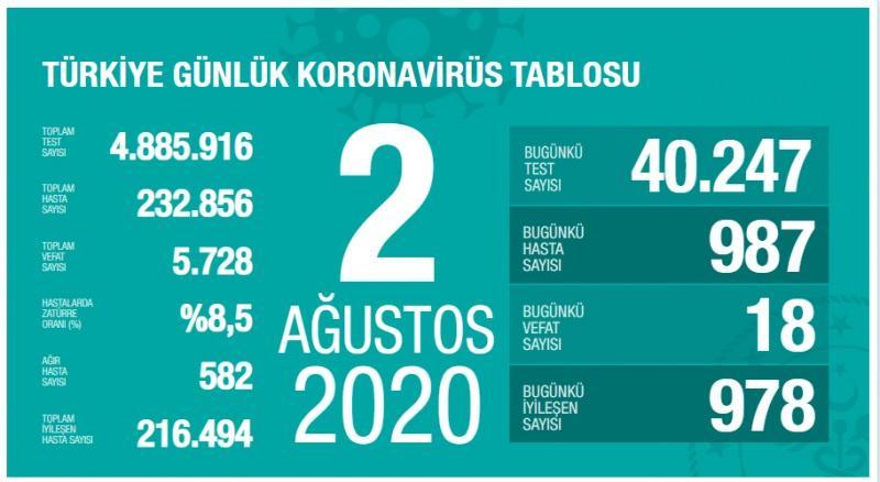 2 Ağustos koronavirüs tablsou, vaka, ağır hasta, can kaybı sayısı ve son durum