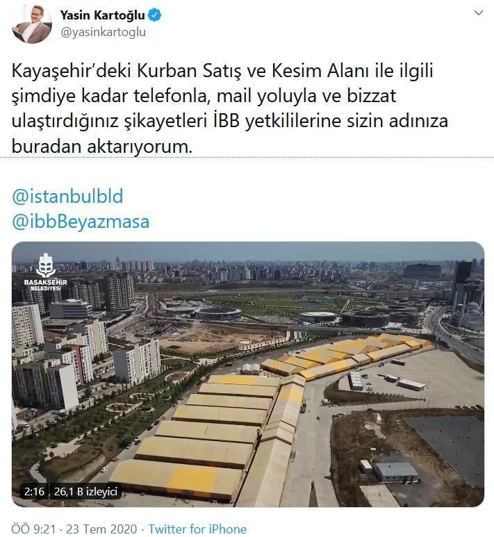 Başakşehir Belediye Başkanı Yasin Kartoğlu İBB adına özrü diledi