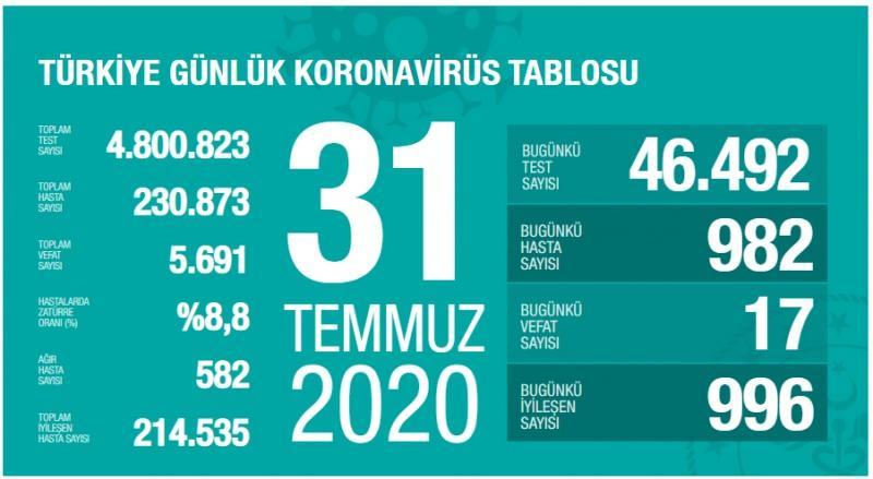 31 Temmuz koronavirüs tablsou, vaka, ağır hasta, can kaybı sayısı ve son durum