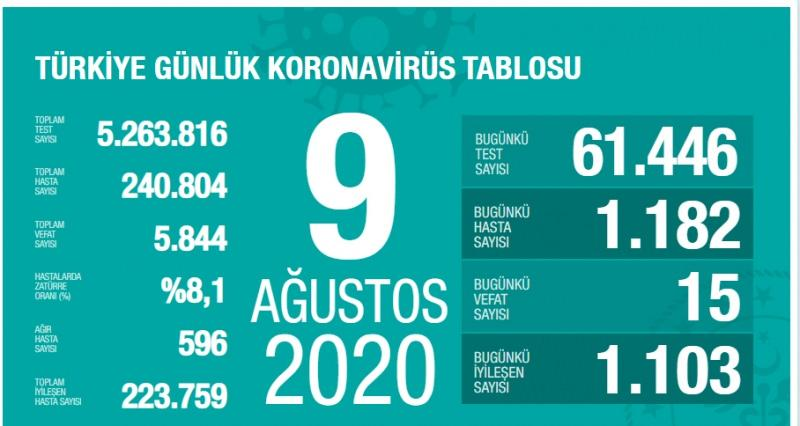 9 Ağustos koronavirüs tablsou, vaka, ağır hasta, can kaybı sayısı ve son durum
