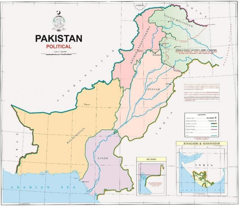 Cammu ve Keşmir'i sınırları içinde gösteren Pakistan haritası