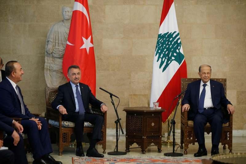 Türk heyeti ve Lübnan Cumhurbaşkanı Mişel Avn