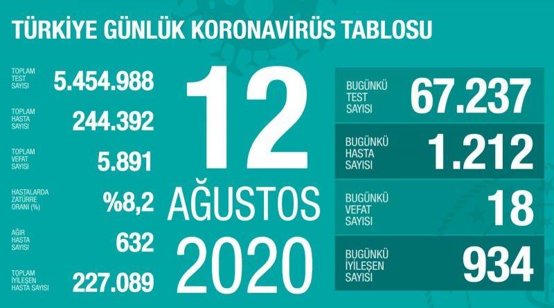 12 Ağustos koronavirüs tablsou, vaka, can kaybı sayısı ve son durum