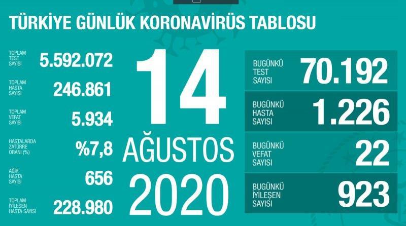14 Ağustos koronavirüs tablsou, vaka, ağır hasta, can kaybı sayısı ve son durum