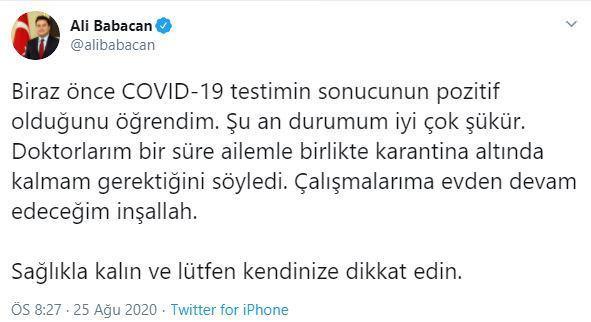Ali Babacan, koronavirüse yakalandığı haberini sosyal medya hesabından duyurdu.