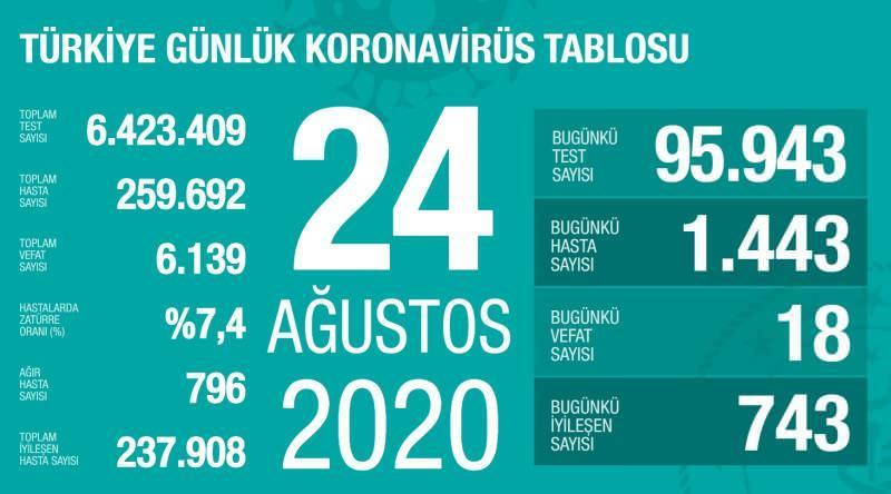 24 Ağustos koronavirüs tablsou, vaka, ağır hasta, can kaybı sayısı ve son durum