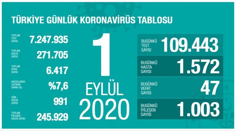 1 Eylül koronavirüs tablsou, vaka, ağır hasta, can kaybı sayısı ve son durum