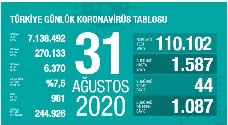 31 Ağustos koronavirüs tablsou, vaka, ağır hasta, can kaybı sayısı ve son durum