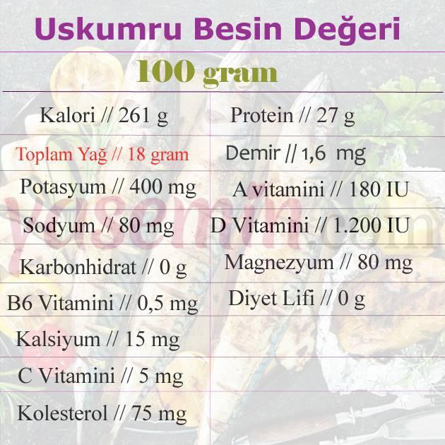 uskumru besin değerleri