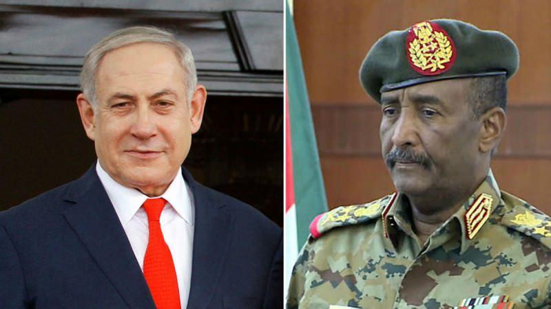 Sudan Egemenlik Konseyi Başkanı Orgeneral Abdulfettah el-Burhan ve Netanyahu