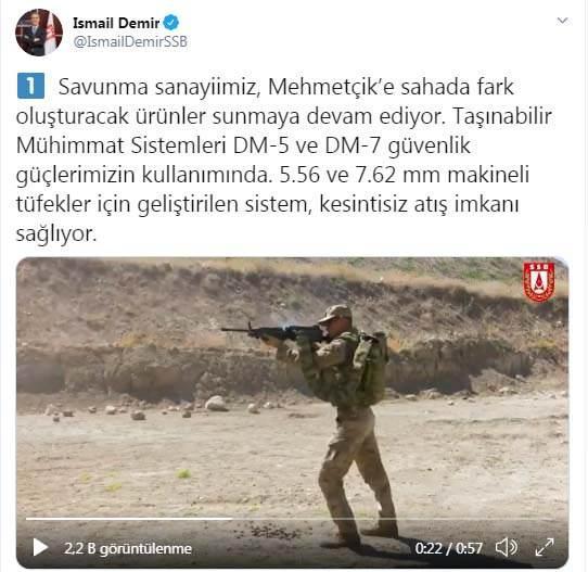 Savunma Sanayii Başkanı Demir:  Taşınabilir Mühimmat Sistemleri DM-5 ve DM-7'nin güvenlik güçlerinin kullanımında olduğunu belirterek, 5.56 ve 7.62 milimetre makineli tüfekler için geliştirilen sistem, kesintisiz atış imkanı sağlıyor.