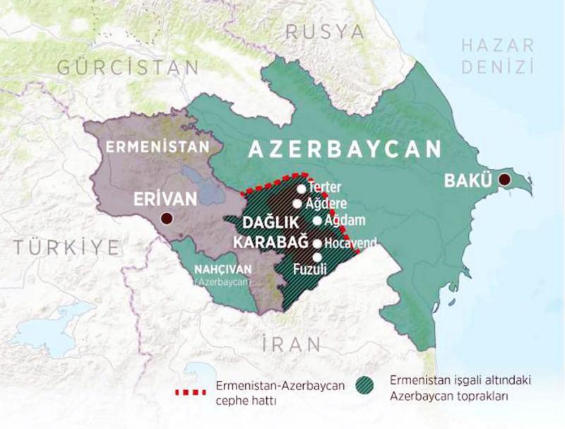 Dağlık Karabağ'da son durumu gösteren harita