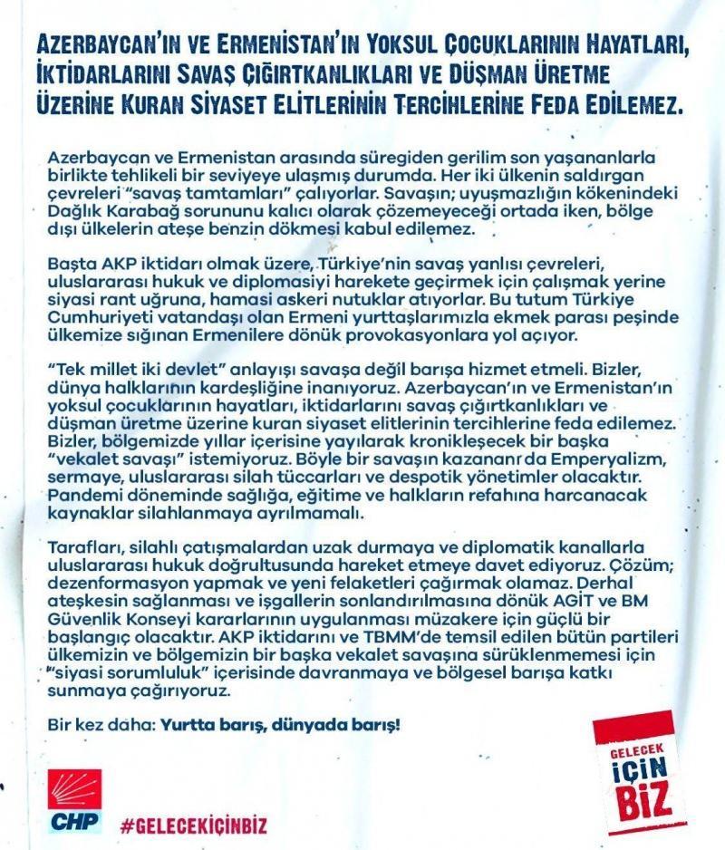 CHP'den skandal Azerbaycan bildirisi