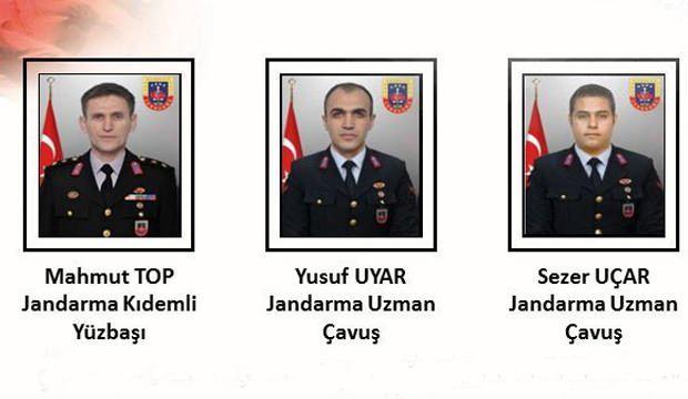 Jandarma Yüzbaşı Mahmut TOP, Jandarma Uzman Çavuş Yusuf UYAR ve Jandarma Uzman Çavuş Sezer UÇAR