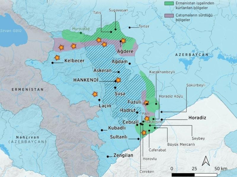 Dağlık Karabağ'da çatışma haritası.
