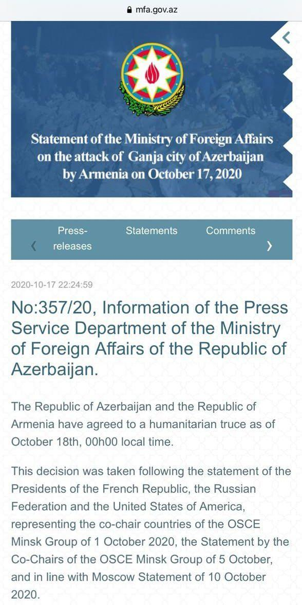 Azerbaycan ve Ermenistan geçici ateşkes ilan etti