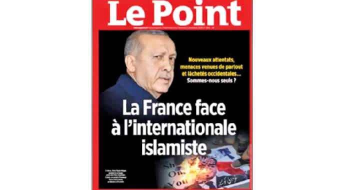 Dergi, Erdoğan'ın fotoğrafının üstünde Fransa'da 'terör' anlamında kullanılan 'İslamist' kelimesini yerleştirdi.