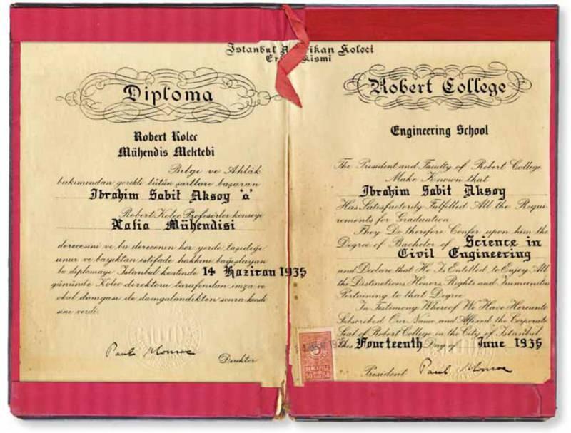 Robert Koleji Mühendis Mektebi Diploması (Enver Beşinci Koleksiyonu)