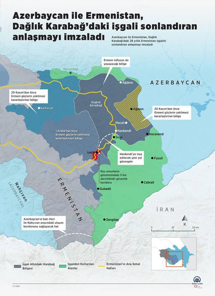 Anlaşma sonrası ortaya çıkan Dağlık Karabağ haritası