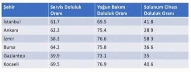 Türkiye'de yatak doluluk oranları