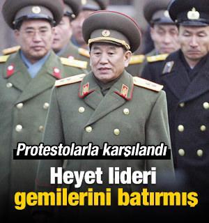 Güney Kore gemisini batıran lidere protesto