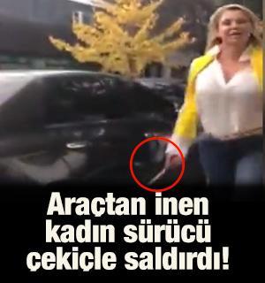 Araçtan inen kadın sürücü çekiçle saldırdı!