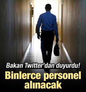 Bakan Twitter'dan duyurdu: Binlerce personel alınacak